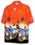 440-3468 Orange Pacific Legend Men's Border Hawaiian Shirts